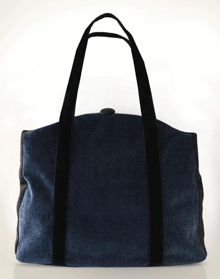 Butterfly Tote Handbag Mauve Midnight Blue Black back - Julie London