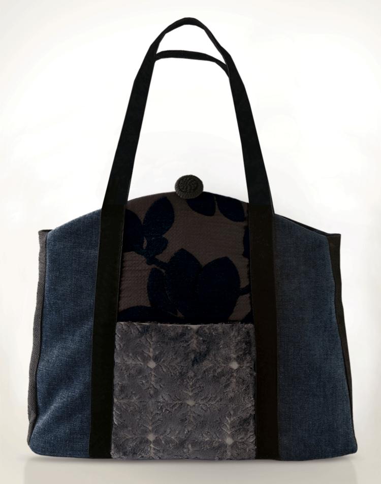Butterfly Tote Handbag Mauve Midnight Blue Black front - Julie London