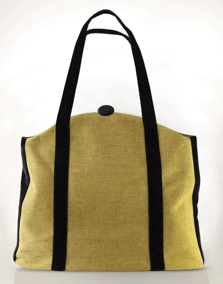 Butterfly Tote Handbag Olive Blue back - Julie London Design