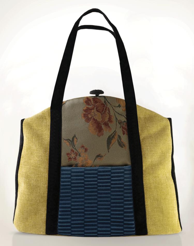 Butterfly Tote Handbag Olive Blue front - Julie London Design
